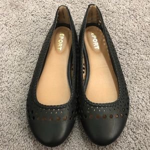 Report Black Laser Cut Flats Size 8